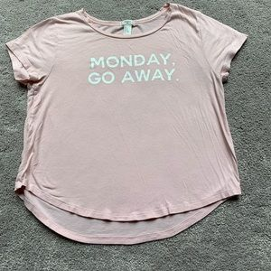 """🎉Pink Forever 21 Shirt """"Monday Go Away"""""""